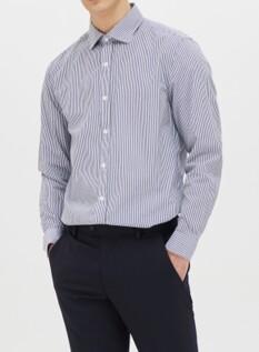 스트라이프 세미와이드카라 셔츠