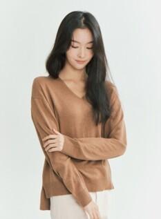 여성 캐시 블랜디드 브이넥 스웨터