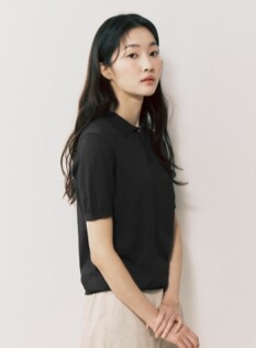여성 워셔블 카라 반팔 스웨터