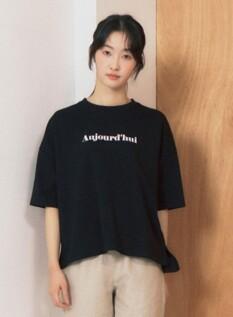 여성 쿨텐션 레터링 5부 티셔츠