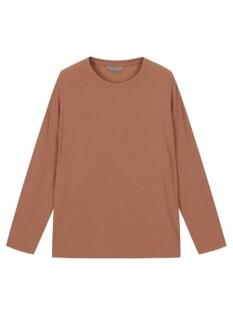 여성 루즈핏 솔리드 긴팔 티셔츠