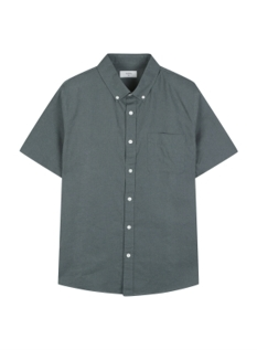 리넨 버튼다운 반팔 셔츠