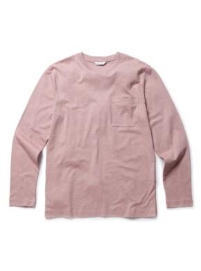 슬럽 코튼 포켓 라운드 티셔츠