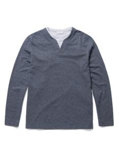 레이어드 슬릿 라운드 티셔츠