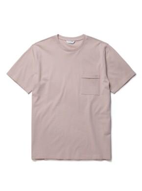 더스티 핑크 슬럽 포켓 반팔 티셔츠
