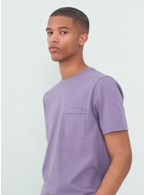 라벤더 퍼플 슬럽 포켓 반팔 티셔츠