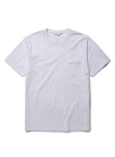 퓨어 화이트 슬럽 포켓 반팔 티셔츠