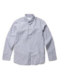히든 버튼 카라 투톤 칼라 스트라이프 셔츠
