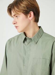 포플린 세미오버 셔츠