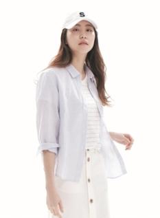 여성 린넨코튼 베이직핏 긴팔 셔츠