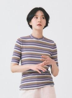 여성 립 목넥 반팔 티셔츠