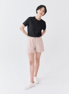 여성 면 슬럽 솔리드 크루넥 반팔 티셔츠