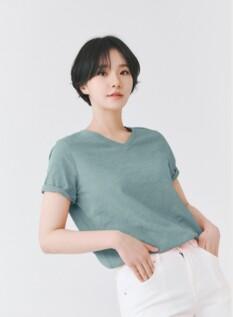 여성 면 슬럽 솔리드 브이넥 반팔 티셔츠