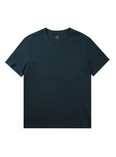 오가닉 면 브이넥 솔리드 반팔 티셔츠