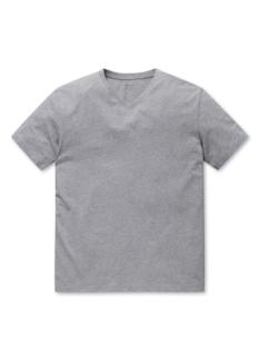 공용 오가닉 면 브이넥 솔리드 반팔 티셔츠