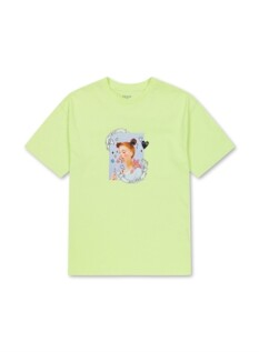 코튼 포토 그래픽 롱 반팔 티셔츠