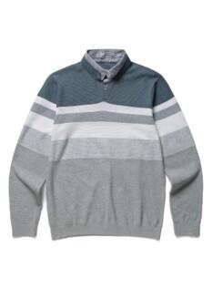 더블넥 린넨 블록 티셔츠