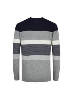 울혼방 컬러블럭 스웨터 (NV)