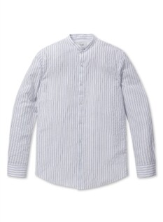 이지케어 스트라이프 헨리넥 셔츠 (WT)