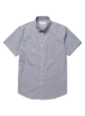 맨인 모션 체크 반팔 드레스 셔츠